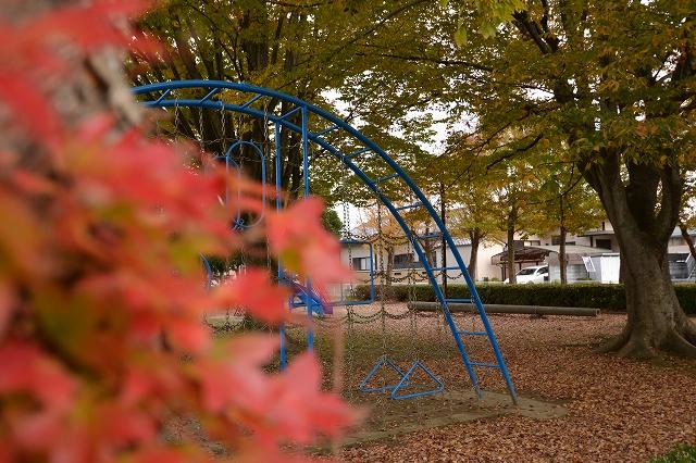 秋の公園の遊具